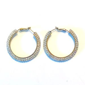 Rhinestone Gold Hoop Earrings - Pageant or Formal